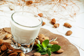 Homemade yogurt in glass in rustic style, selective focus