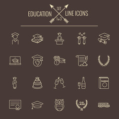 Education icon set.
