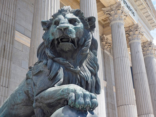 bronze lion state entrance Congress of Deputies Madrid Spain