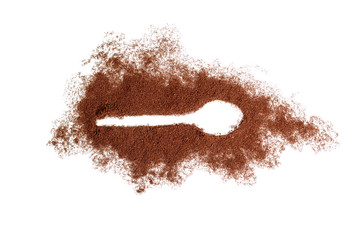 Spoon trace in ground coffee.