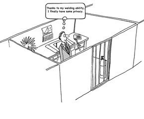 Business cartoon about life in a cubicle.