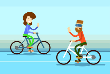 Couple Man Woman Ride Towards Bicycle Wave Hand Greeting