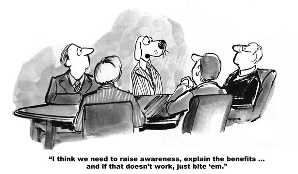 Marketing cartoon about increasing awareness among consumers.