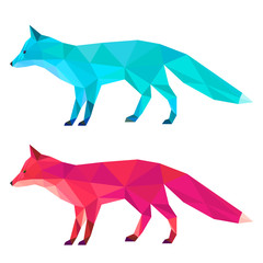 Fox set painted in imaginary colors isolated on white background