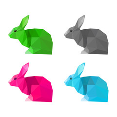 Rabbits set isolated on white . Abstract bright  polygonal animals