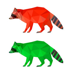Raccoon set isolated on white. Abstract bright  polygonal animals