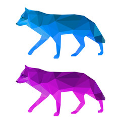 Wolf set isolated on white. Abstract polygonal animals