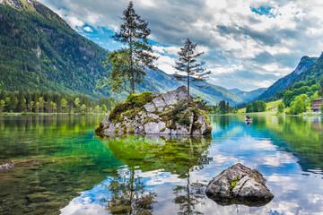 Lake Hintersee in Nationalpark Berchtesgadener Land, Bavaria, Germany