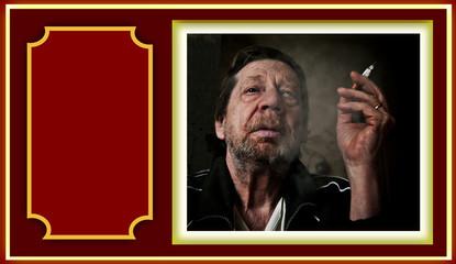 Uomo anziano, dibendenza da nicotina, tabagismo
