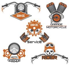 Set of vintage motorcycle emblems, labels, badges, logos and design elements.