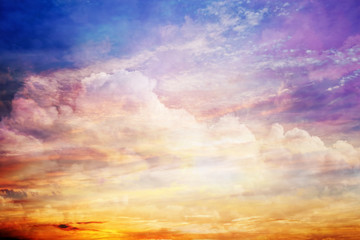 Fantasy sunset sky with amazing clouds and sun light.