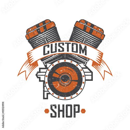 Engine Of The Motorcycle Custom Shop Vintage Motorcycle Emblems