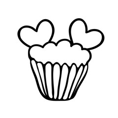 Valentine cupcake sketch with two hearts