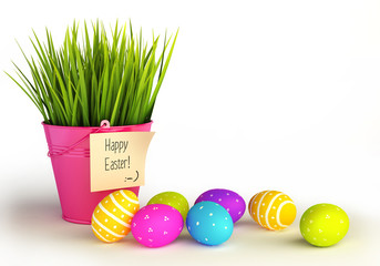 Happy Easter eggs with grass