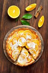 Orange tart, top view