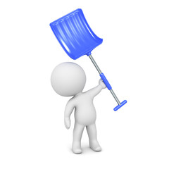 3D Character Holding Snow Shovel