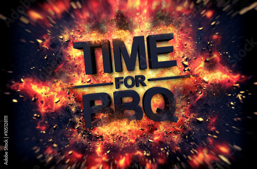 """""""Time For BBQ Fiery Poster Design"""" Stock Photo And Royalty"""