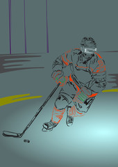 Ice hockey player with hockey stick and puck