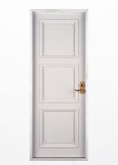 wood door on white
