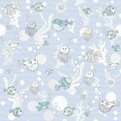 Vector seamless Marine pattern whit sea inhabitants in doodle style