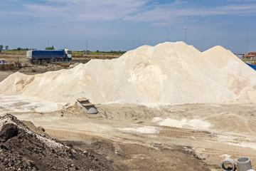 Big pile of gravel, heap.