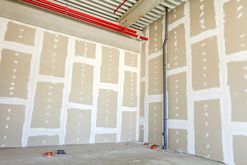 Plasterboard walls. Gypsum wall under construction.