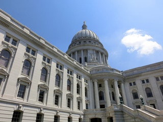Madison, Wisconsin white capitol building exterior - landscape color photo