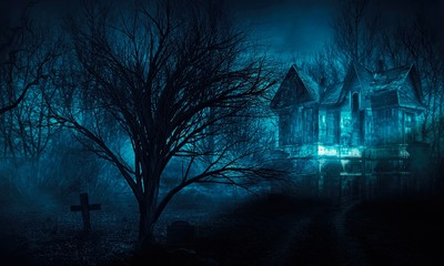 horror haunted house in creepy night forest.