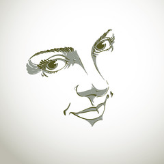 Monochrome silhouette of smiling attractive lady, face features.