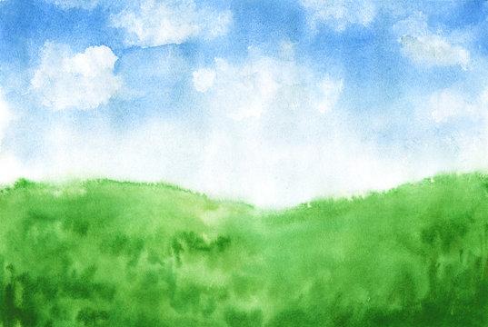 Watercolor hand-drawn rural landscape