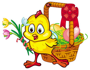 Happy chicken with Easter basket