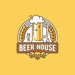 Beer house. Label, badge, logo, template and design element for beer house, bar, pub, brewing company, brewery, tavern, restaurant.