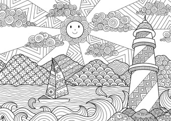 Seascape Line Art Design For Coloring Book Adult Anti Stress