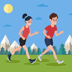 Man and Woman Running in the Woods and Mountains