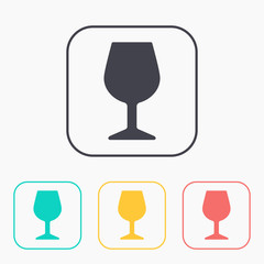 icon of wine glass color set