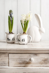 Easter table decoration with hyacinth flowers