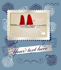 Scrapbooking poster with sea travelling elements.