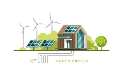 Green energy, alternative energy, renewable energy, ecology. Flat design vector concept illustration.
