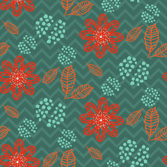 Leaves branches floral brown and grey seamless vector pattern. Nature background for wedding invitations or wallpaper texture.