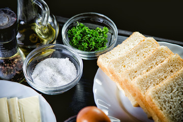 Products for cooking toast ingredients on a table