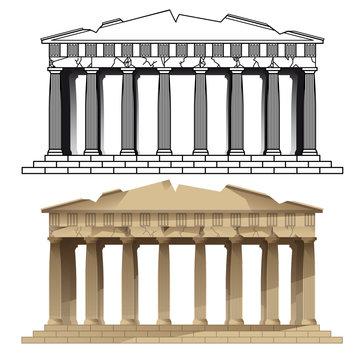 PARTHENON, ATHENS. vectors of european monuments. EPS 10