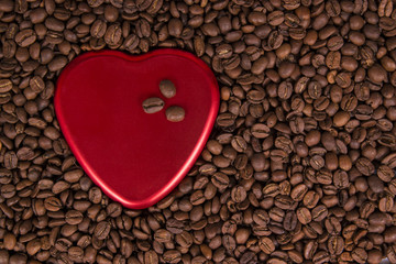 coffee beans and heart shape