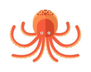 Illustration of cartoon octopus vector.
