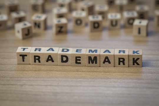 Trademark written in wooden cubes