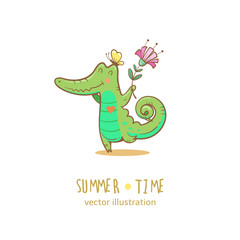 Summer card with cute cartoon  crocodile. Butterfly and flower.  Summer time. Vector image.