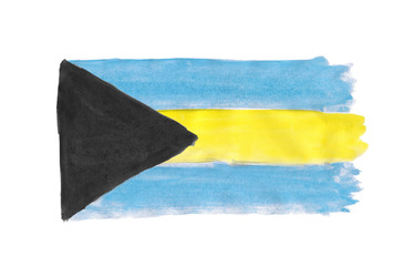 Flag of the Commonwealth of the Bahamas painted with gouache