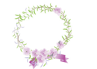 wreath of purple flowers and green leave