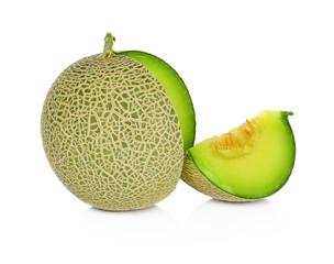 cantaloupe melon slices on white background