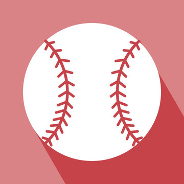 Baseball Icon. EPS 10 vector illustration for design. Baseball Icon on red background. Baseball Icon Icon with Long Shadow. All in a single layer. Vector illustration. Elements for design.
