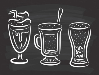 set of coffee with whipped cream in doodle style on chalkboard background